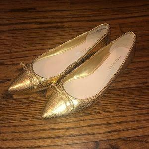 New Nine West Keep It Up Gold Ballet Flats